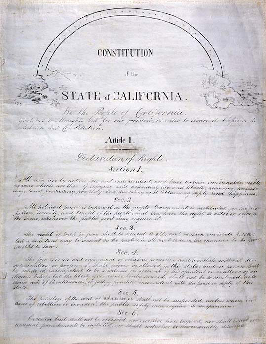 This image is of the title page to the 1849 California Constitution. It includes the preamble and article 1.