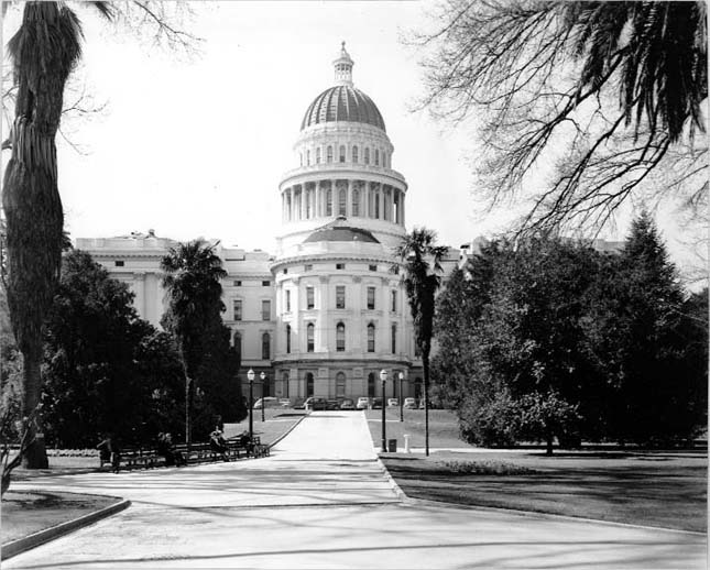 This black and white photograph of the California State Capitol Building was taken around the year 1945. The image shows Capitol Park and the eastern side of the Capitol prior to the East Annex addition that was completed in 1952.