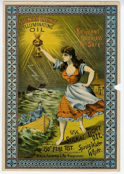 "Lithograph of a woman holding an oil lamp aloft. The lamp is glowing and the words ""Signal Light Illuminating Oil"" hovers above it. The lamp oil is further described as ""brilliant, odorless, and safe."""