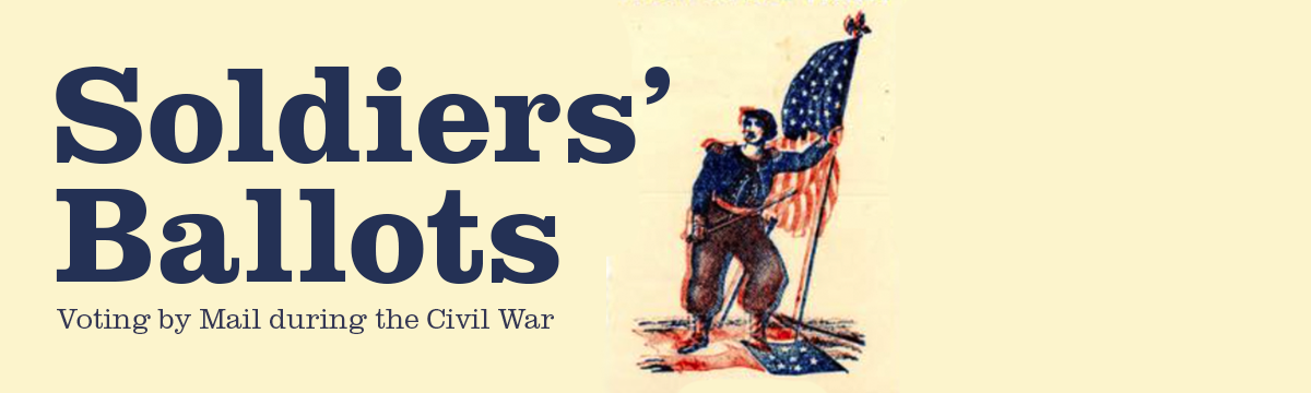 Civil War image in red white and blue of a soldier holding the American flag.