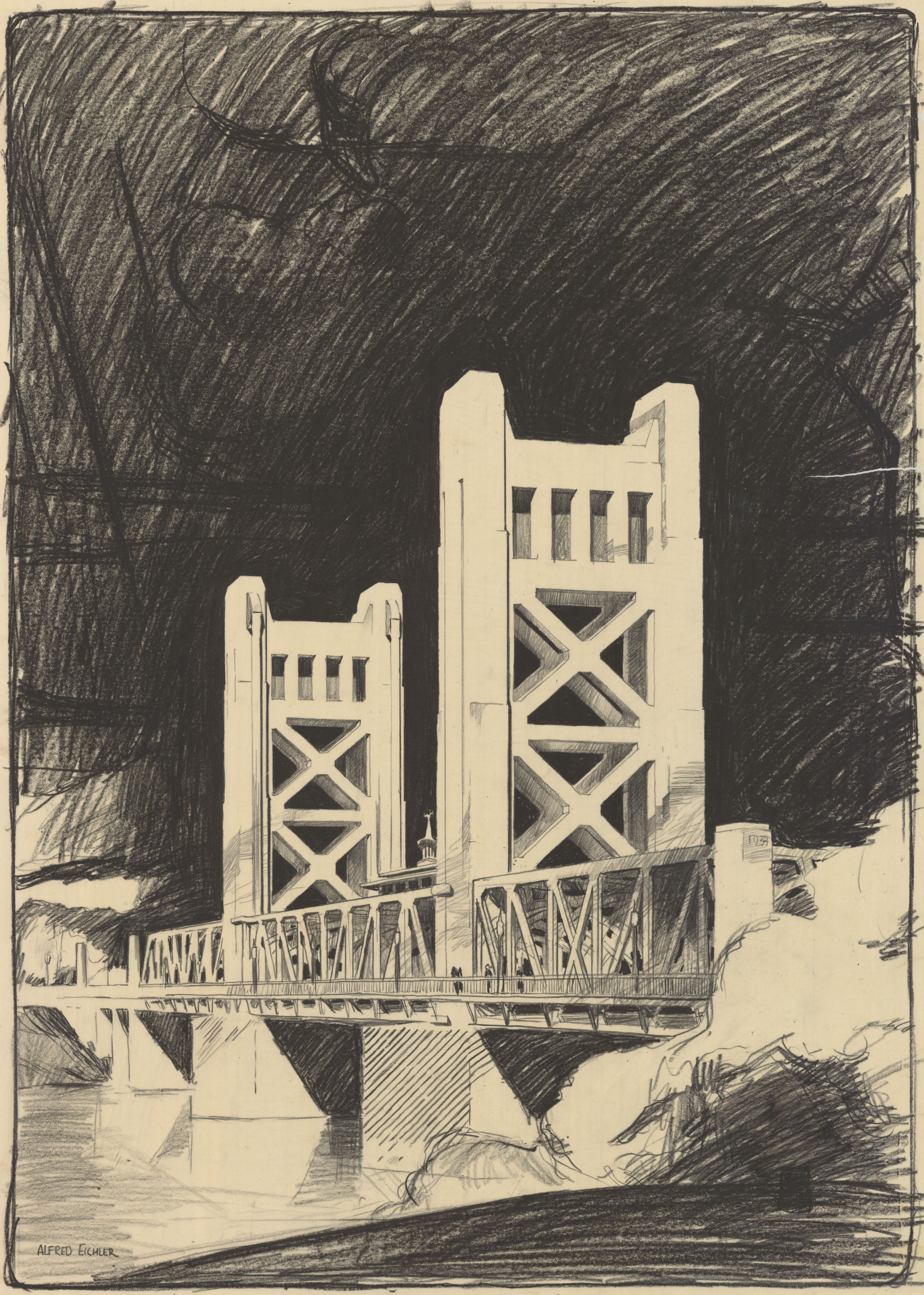 Image of Alfred Eichler's concept drawing of the tower bridge.