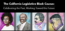 Banner shows the six founding members of the California Legislative Black Caucus
