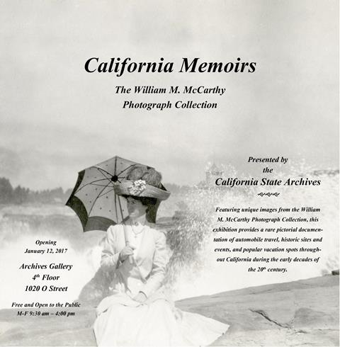 This exhibit poster shows Grace McCarthy, dressed in a fine Victorian garment, holding a parasol, seated. Her image is superimposed over a setting of natural images, such as trees and a wide open field.