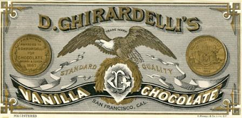 This trademark has a bald eagle, wings extended in the center with gold coins to either side. The name D. Ghirardelli's runs across the top of the trademark, in gold letters. Just under the eagle's wings are the words standard and quality. Across the bottom is a black ribbon with the words vanilla and chocolate in white letters,outlined in gold. In the center of the ribbon, is a logo with the letter DG entwined. The eagle is perched upon this logo. Under the ribbon is written San Francisco, Cal.