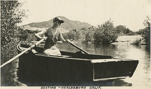 96-07-08-alb07-303, Grace McCarthy rowing a small boat on the Russian River at Healdsburg, c. 1915
