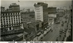 96-07-08-alb11-002, Bird's eye view San Francisco's Market Street. The Ferry Building is visible in the upper right-hand corner of the photograph, while the Flatiron Building appears in the photograph's center