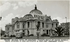 96-07-08-alb10-397, The Palacio de Bellas Artes in Mexico City, Mexico, 1938. Considered the cultural center of Mexico City, it houses the Museum of Architecture, and the National Theater, a performance space for music, dance, and theatre
