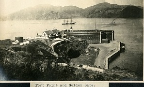 96-07-08-alb06-009, Fort Point in the foreground, with ships sailing through the Golden Gate, entrance to San Francisco Bay, c. 1906