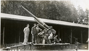 96-07-08-alb04-284, Three unidentified men and dog with large caliber long gun, c. 1920