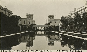 96-07-08-alb07-241, View of the Panama-California Exposition's La Laguna Espejada (Mirror Pool), in what is now Balboa Park, 1915