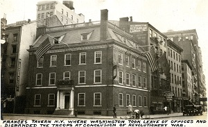 96-07-08-alb09-156, Fraunces Tavern in New York City, 1934.  Built as a family home in 1719, this building was converted to use as a tavern in 1762. It served many important functions before, during, and after the Revolutionary War