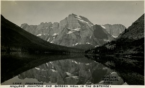 96-07-08-alb10-170, A scene in Glacier National Park, Montana, showing Lake Josephine and McCloud Mountain, c. 1935