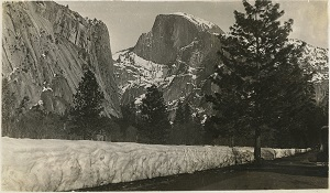 96-07-08-alb10-343, A view of snow-covered Half Dome at Yosemite National Park, c. 1932