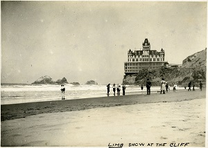96-07-08-alb03-105, Bathers at San Francisco's Ocean Beach, with the Cliff House in the background, c. 1906