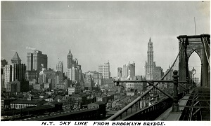 96-07-08-alb09-144, A view of New York City's skyline, as seen from the Brooklyn Bridge, 1934