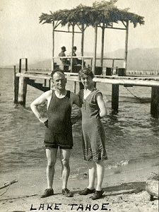 William and Grace McCarthy in swimsuits on a beach at Lake Tahoe, c. 1915