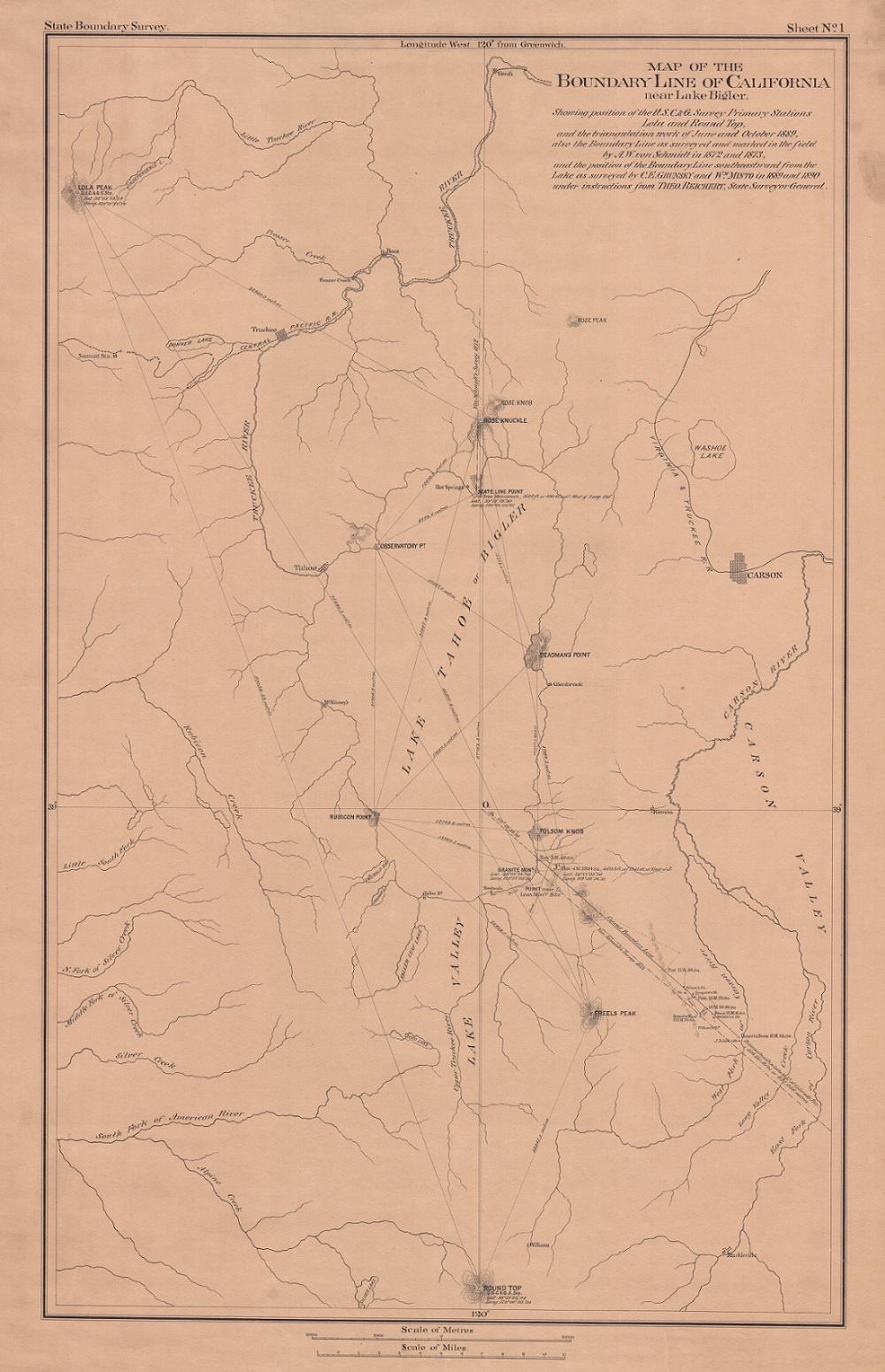 Map of Boundary Line of California near Lake Bigler