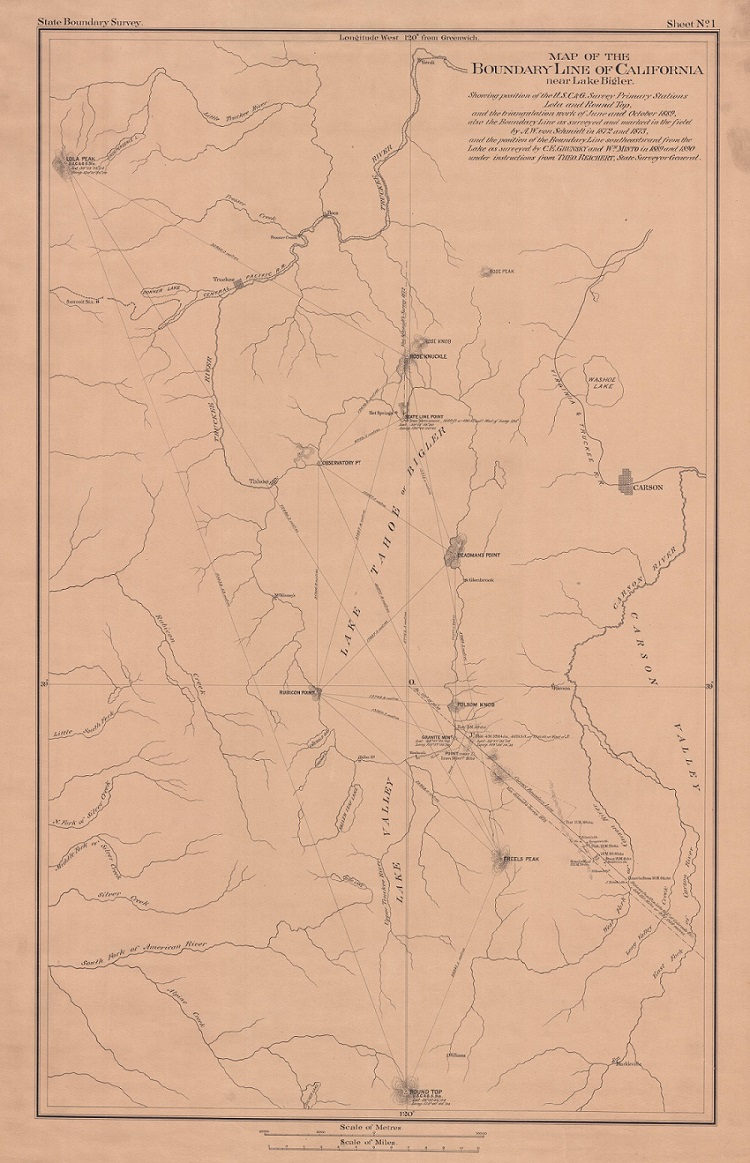 Map of the Boundary Line of California near Lake Bigler