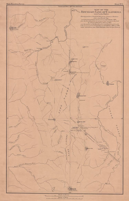 Map of the Boundary Line of California near Lake Bigler