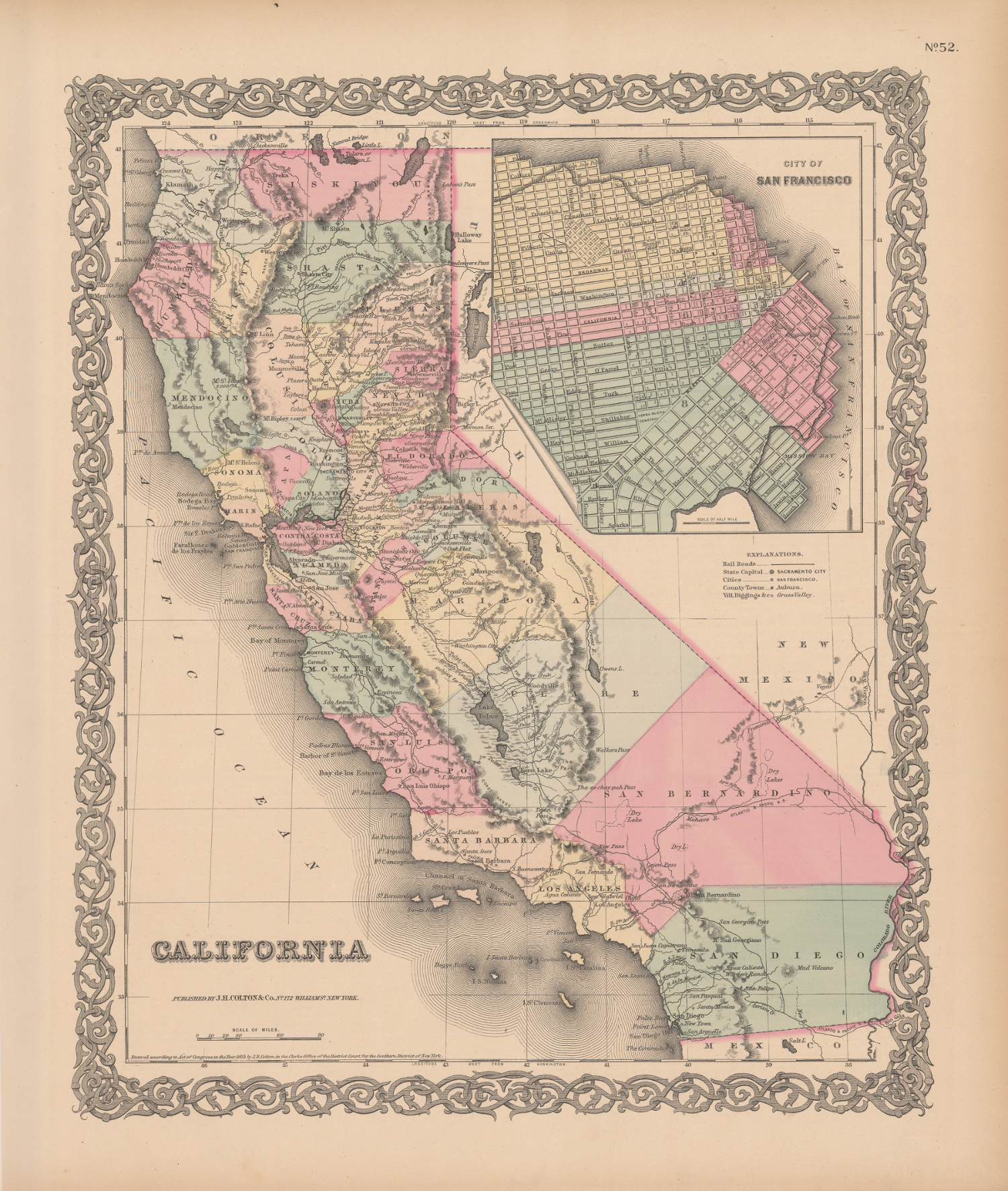 A colorful map of the State of California showing the state and its county  boundaries,
