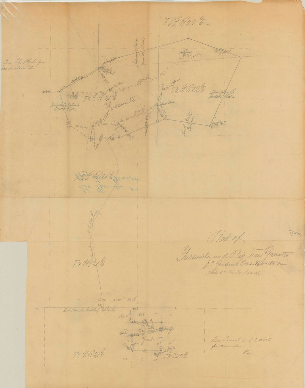 sketch map showing the boundaries of the Yosemite and Big Trees grants, undated