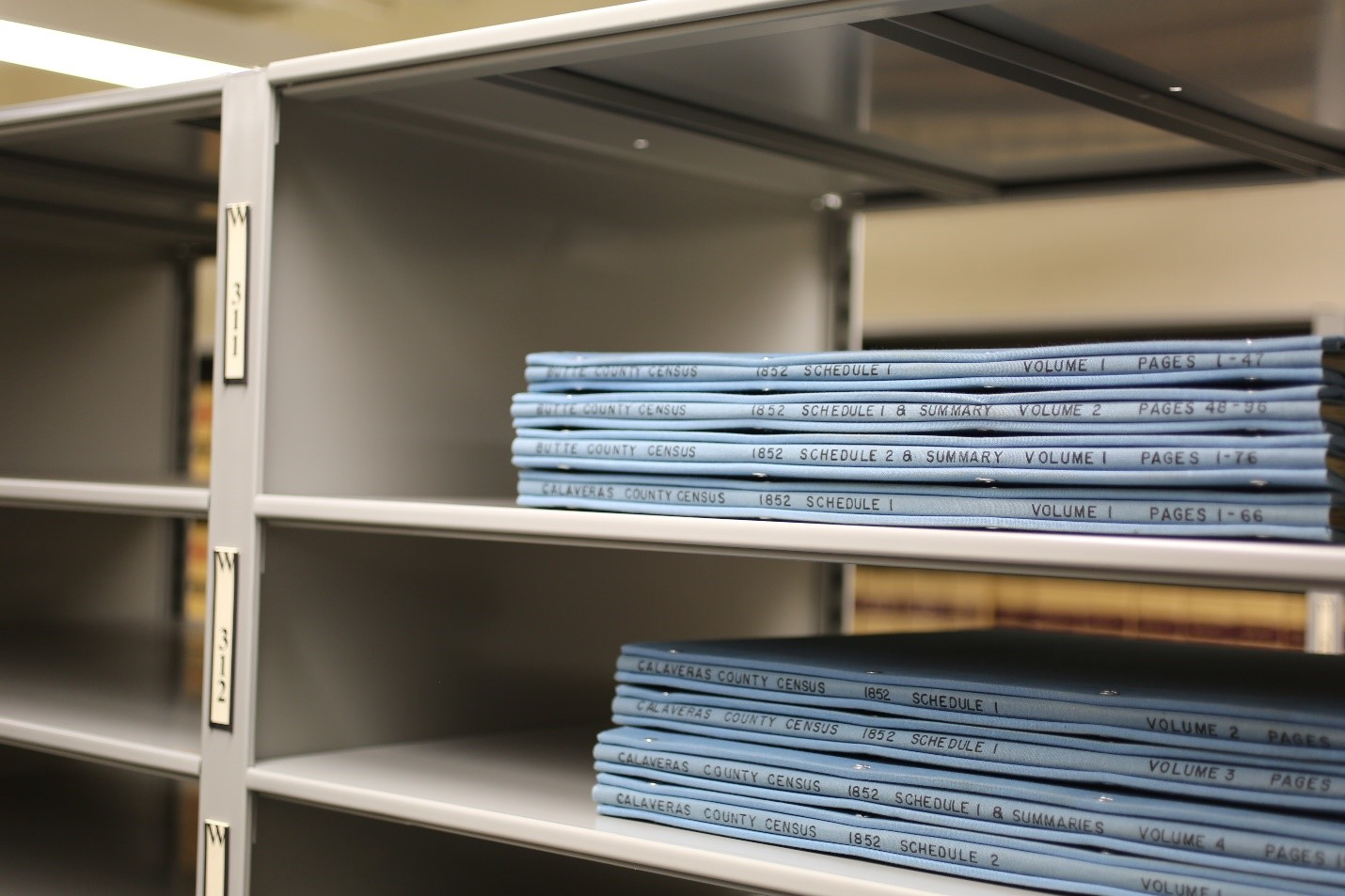 Census books in the California State Archives' stacks.