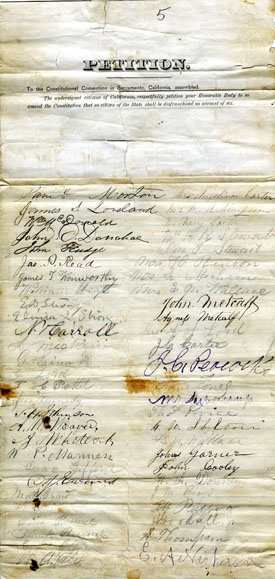 Petitions for Women's Suffrage to the California Constitutional Convention