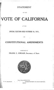 Statement of the Vote in California, 1911