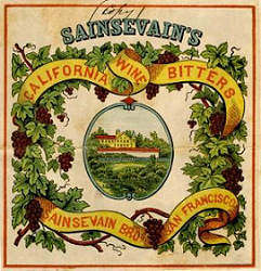 This is a label for Sainsevain's California wine bitters. In the center is an oval with a vineyard and a large building surrounding by a fence. around the oval are grapes and grape leaves, intertwined is a ribbon with the words california wine bitters above and sainsevain bros san francisco below