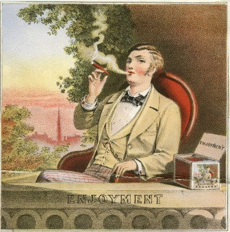 A colored cigar box label showing a youngish man enjoying a cigar. He is finely dressed and is sitting on a balcony, a box of enjoyment cigars with his image is on the ledge next to him.