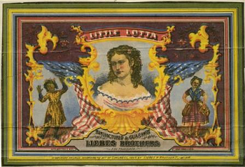 Image of a cigar box label with actress Little Lotta Crabtree dressed as various characters she portrayed on stage.