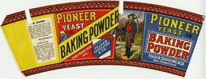 This image is for Pioneed Yeast or Baking Powder, trademarked by Folger, Schilling, and Company. in 1881. It shows a bearded man dressed in work clothes with a pick axe over his shoulder. The trademark is very colorful with red and yellow being the predominant colors.