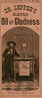 Image is for a label on a bottle of medicine called Dr. Lepper's electric oil of gladness. The label is pinkish with black lettering and features a gentleman standing at a table selling in the syrup.