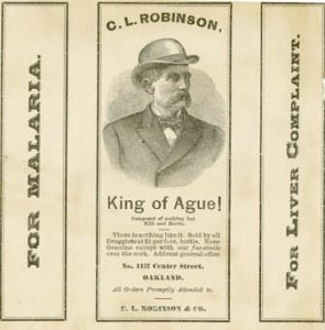 Label for C.L. Robinson's patented medicine for malaria and for liver complaint. The label features a man in a bowler hat and the words king of ague beneath. on the left part of the label is a sketch of a tree. the label is on off-white papers with black lettering