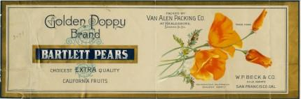 This label is for cans containg Golden Poppy Brand Bartlett Pears and features an lovely drawing of the Californa poppy, in shades of orange and yellow. In addition to the name of brand of pears, the words Packaged by Van Allen Packing Company of Healdsburg, Sonoma County appear on the label. In the lower right corner the name of the company, W.P. Beck and Co. of San Francisco can be found.