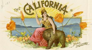 A beautiful cigar box label with a depiction the California State Seal, showing the Roman goddess, Minerva, and a California grizzly bear at her side. There are several California poppies which are the state flower on either side of Minerva. The words The California are arched above her. In the background, as on the state seal, is what San Francisco Bay. the words home industry can be found in the lower right corner of the label.