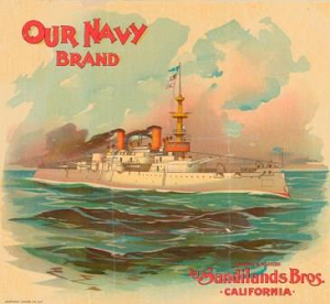 The Our Navy Brand trademark depicts a large steamship on the ocean. The brand name is in red lettering in the upper left quadrant, while the name of the producer, Sandilands Brothers, California, is in the lower rigth corner. The steamship has two stacks that are billowing brown smoke.