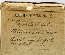 Bill jacket for Assembly bill no. 4 on yellowed paper, handwritten, an act to protect all citizens in their civil and legal rights