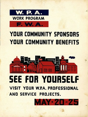 Poster for the Works Project Administration, blue, red, and black on a white background, WPA Work Program