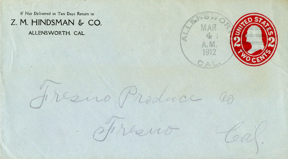 light blue envelope with affixed red 2 cent postage stamp. addressed to the Fresno Produce Company, Fresno, California. return address is Z M Hindsman & Company, Allensworth, California. postmarked march 1912