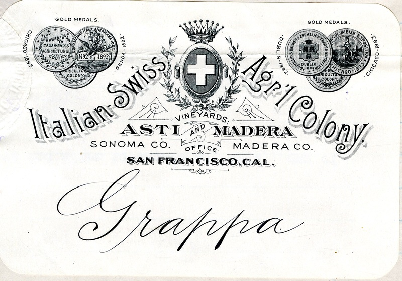 Trademark for Italian-Swiss Agricultural Colony Grappa