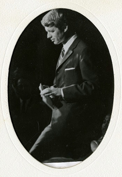 Black and white portrait photo of Robert F. Kennedy