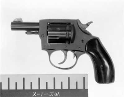 Black and white photograph of an Iver-Johnson .22 caliber revolver