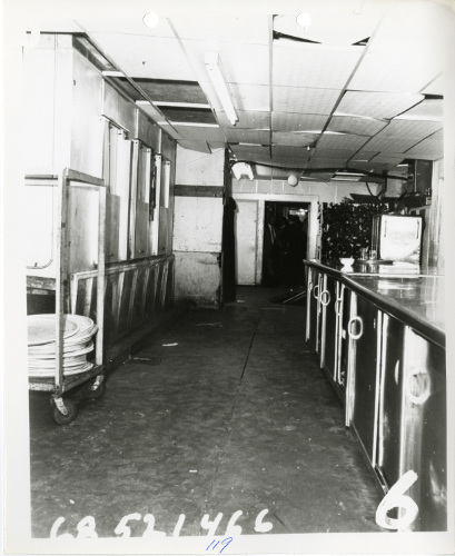 Black and white photo of the Ambassador Hotel pantry